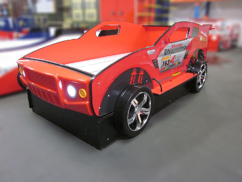 Childrens Boys Racing Car Bed With High Side Trundle Bed